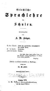 Griechische Sprachlehre für Schulen: Band 1