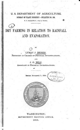 Dry Farming in Relation to Rainfall and Evaporation PDF