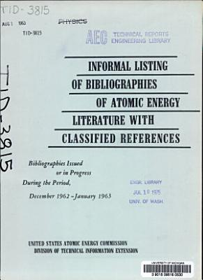 Bibliographies of Atomic Energy Literature PDF
