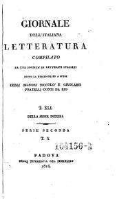 Giornale dell'Italiana letteratura: Volume 41