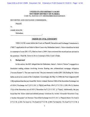 Jamie L  Solow  Securities and Exchange Commission Order of Civil Contempt