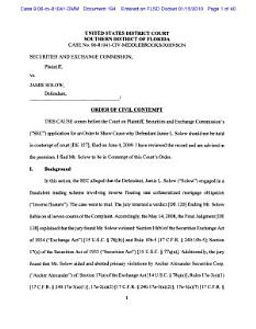 Jamie L. Solow: Securities and Exchange Commission Order of Civil Contempt