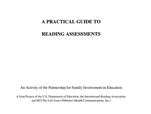 A Practical Guide To Reading Assessments