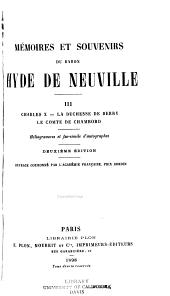 Mémoires et souvenirs du baron Hyde de Neuville: Volume3