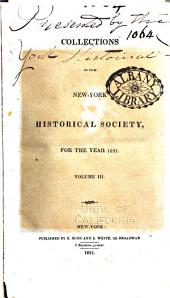 Collections of the New York Historical Society: Volume 3