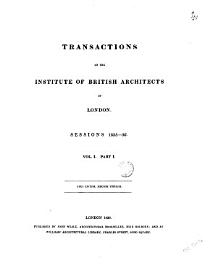 Transactions Of The Institute Of British Architects Of London