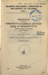 Hearings Regarding Communism In The Distric Of Columbia Book PDF