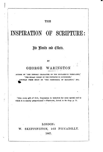 The Inspiration of Scripture PDF