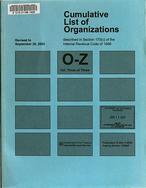Download Cumulative List of Organizations Described in Section 170  c  of the Internal Revenue Code of 1954 Book