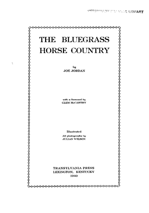 The Bluegrass Horse Country PDF