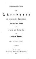 National  konomik des ackerbaues PDF