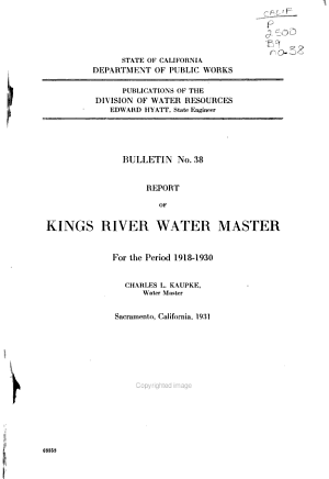 Report of Kings River Water Master for the Period 1918-1930