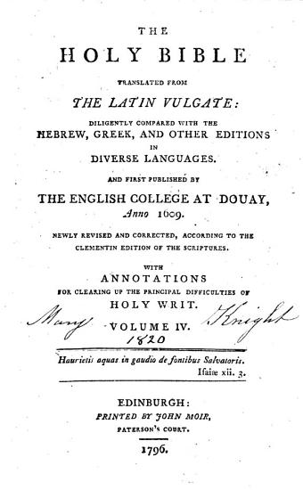 The Holy Bible Translated from the Latin Vulgate      PDF