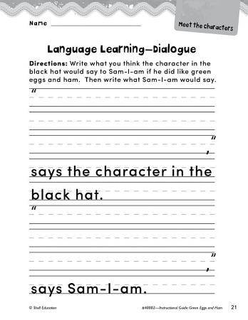 Green Eggs and Ham Language Learning Activities PDF