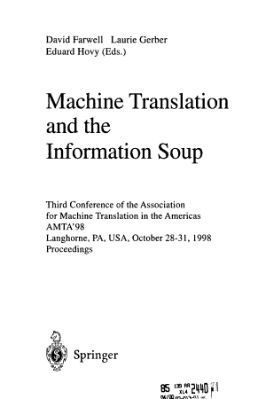 Machine Translation and the Information Soup PDF