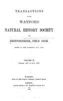 Transactions of the Watford Natural History Society and Hertfordshire Field Club PDF