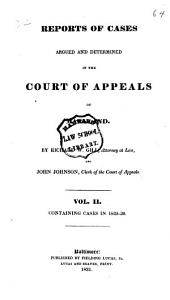 Reports of Cases Argued and Determined in the Court of Appeals of Maryland: Volume 2