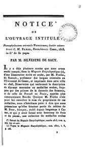 Notice de l'ouvrage intitulé: Numophylacium orientale Pototianum ... adumbravit C. M. Fræhn