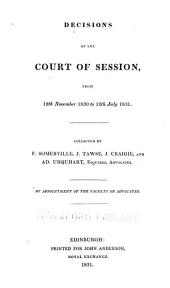 Decisions of the Court of Session: from November 1825 to [20th July 1841] ...