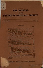 The Journal of the Palestine Oriental Society PDF