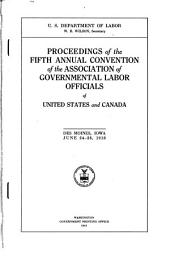 Association of Governmental Labor Officials of United States and Canada, proceedings of the annual convention
