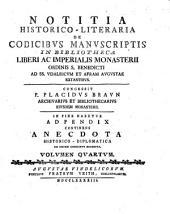 Notitia Historico-Literaria de Codicibvs Manvscriptis
