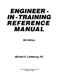 Engineer in training Reference Manual