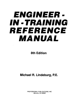 Engineer in training Reference Manual PDF