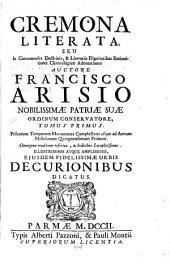 Cremona literata: Volume 1