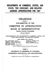 Departments of Commerce  Justice  and State  the Judiciary  and Related Agencies Appropriations for 1987 PDF