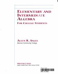 Elementary And Intermediate Algebra For College Students Book PDF