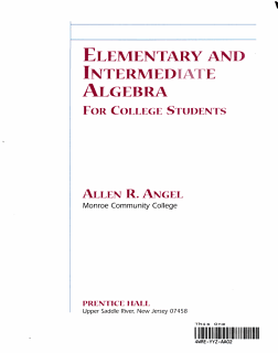 Elementary and Intermediate Algebra for College Students Book