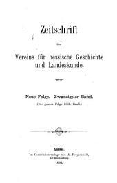 Zeitschrift des Vereins für hessische Geschichte und Landeskunde: Band 30