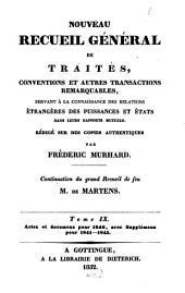 Nouveau recueil général de traités et autres actes relatifs aux rapports de droit international: continuation du grand recueil de G. Fr. de Martens, Volume9