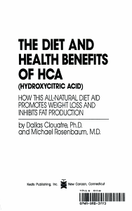 The Diet and Health Benefits of HCA  hydroxycitric Acid  PDF