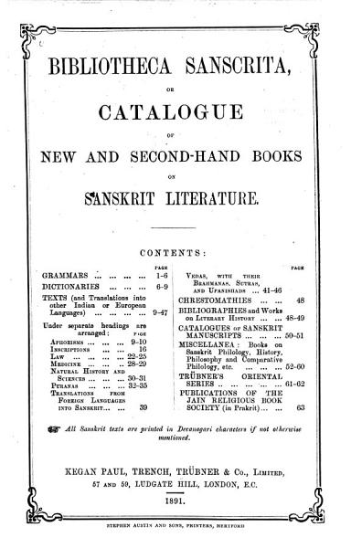 Download Bibliotheca Sanscrita Or Catalogue of New and Second hand Books on Sanskrit Literature Book