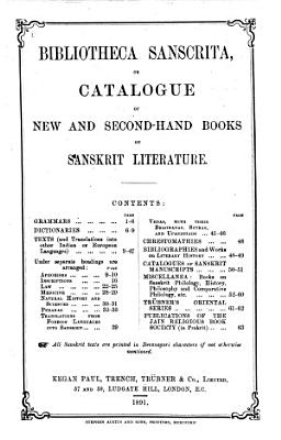 Bibliotheca Sanscrita Or Catalogue of New and Second hand Books on Sanskrit Literature