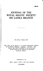 Journal Of The Sri Lanka Branch Of The Royal Asiatic Society