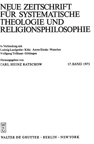 Neue Zeitschrift F  r systematische Theologie und Religionsphilosophie PDF