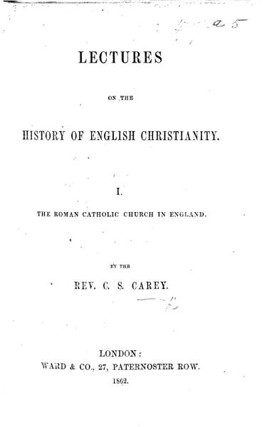 Download Lectures on the History of English Christianity Book