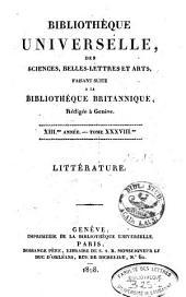 Bibliothèque universelle des sciences, belles-lettres et arts: Volume38