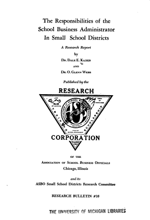 The Responsibilities of the School Business Administrator in Small School Districts PDF