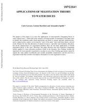 Applications of Negotiation Theory to Water Issues