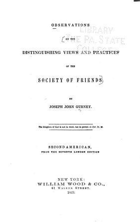 Observations on the Distinguishing Views and Practices of the Society of Friends PDF