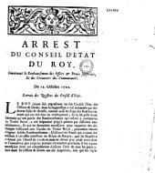 Arrest du Conseil d'Etat du roy, concernant le remboursement des offices & droits supprimés, et des creanciers des communautés. Du 12. octobre 1720. Extrait des registres du Conseil d'Etat
