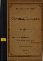Catalogue of Books in the Central Library of the City of Syracuse
