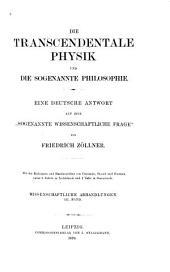 """Die transcendentale Physik und die sogenannte Philosophie: eine deutsche Antwort auf eine """"sogenannte wissenschaftliche Frage"""""""