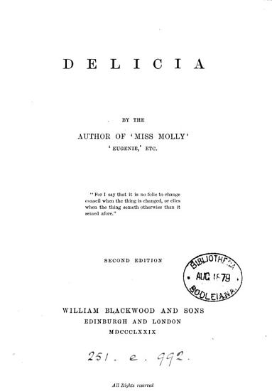 Delicia  by the author of Miss Molly PDF
