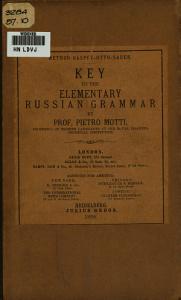 Key to the Elementary Russian Grammar PDF