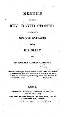 Memoirs of the Rev  David Stoner